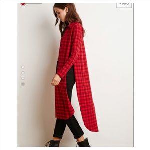 ISO forever 21 side slit flannel